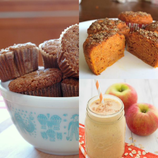 collage of fall breakfast recipes