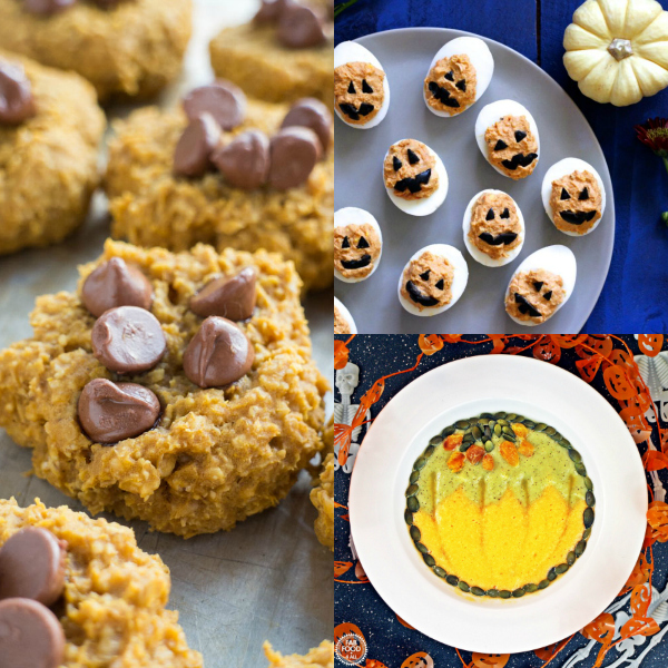 collage of natural halloween treats