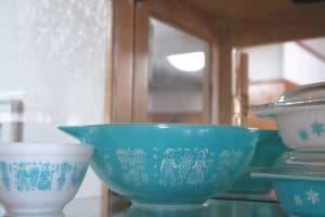 vintage turquoise butterprint pyrex