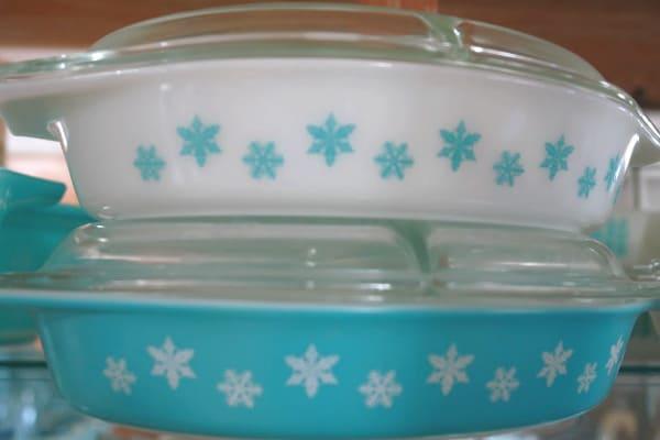 vintage turquoise snowflake pyrex