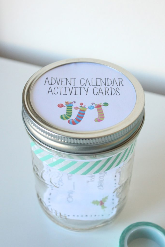 Advent calendar activity cards in jar