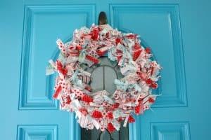 Christmas rag wreath on front door