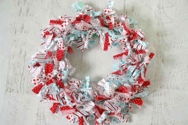 Christmas rag wreath on table