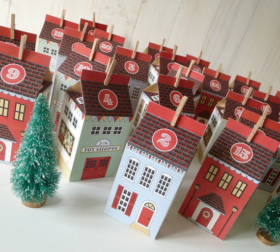 paper christmas village advent calendar