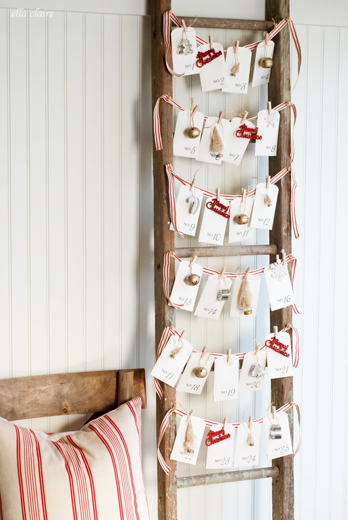 Printable advent calendar on wooden ladder