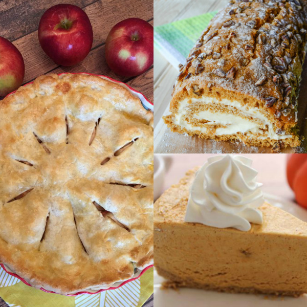 collage of thanksgiving desserts