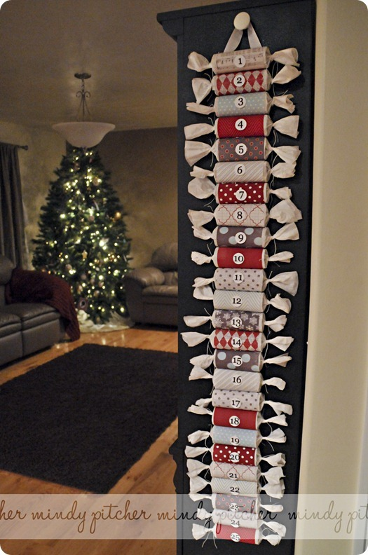 DIY advent calendar on wall