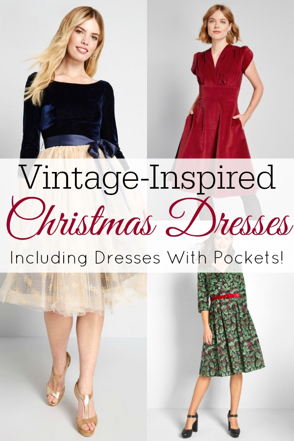 collage of vintage christmas dresses