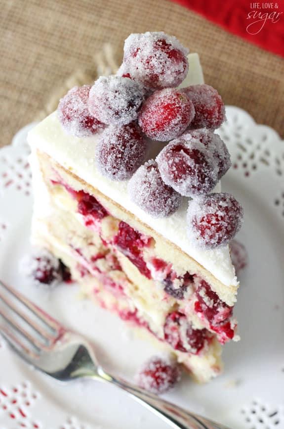Sparkling Cranberry White Chocolate Cake