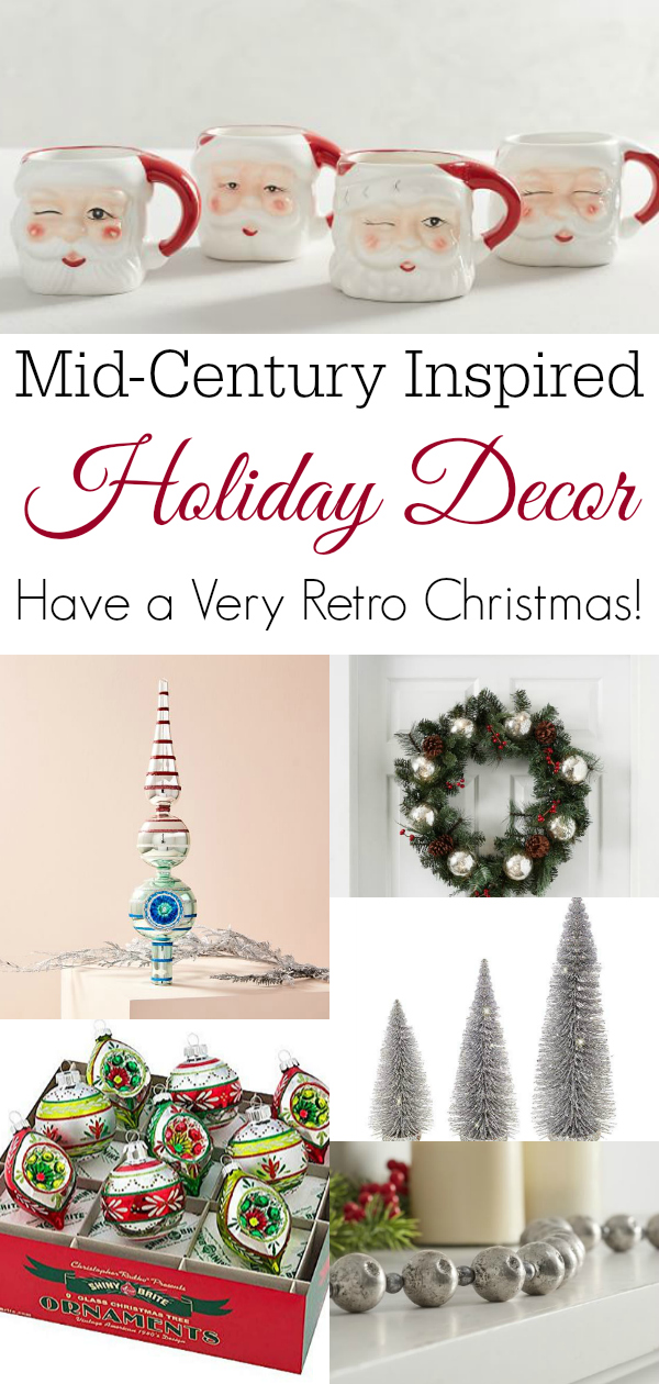collage of mid century inspired holiday decor