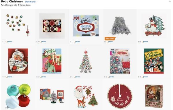retro Christmas decor on Amazon screen shot