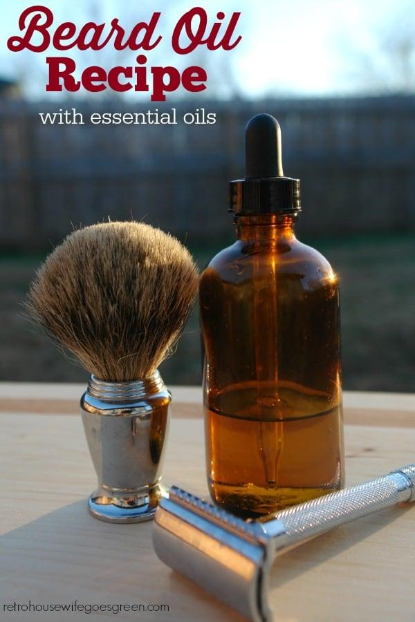 bottle of beard oil, shaving brush, and razor on table outside.