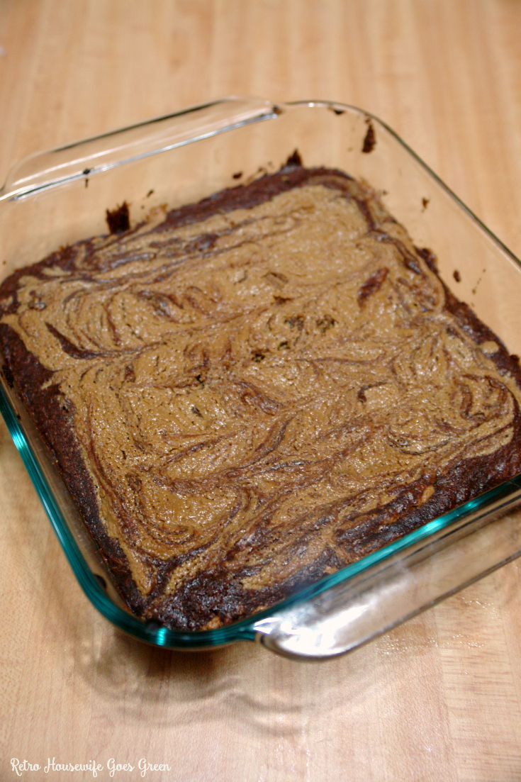 peanut butter brownies in pan