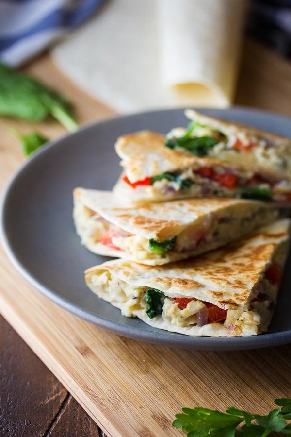 Spinach Feta Red Pepper Breakfast Quesadillas
