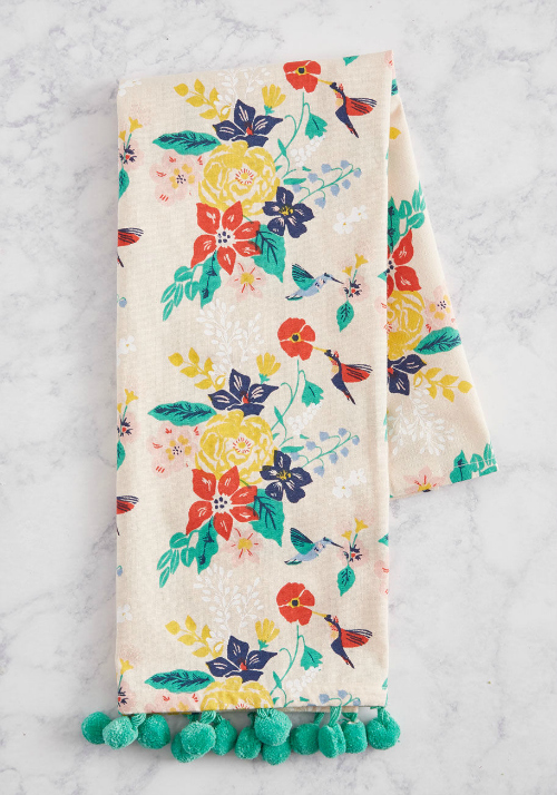 floral humming bird towel