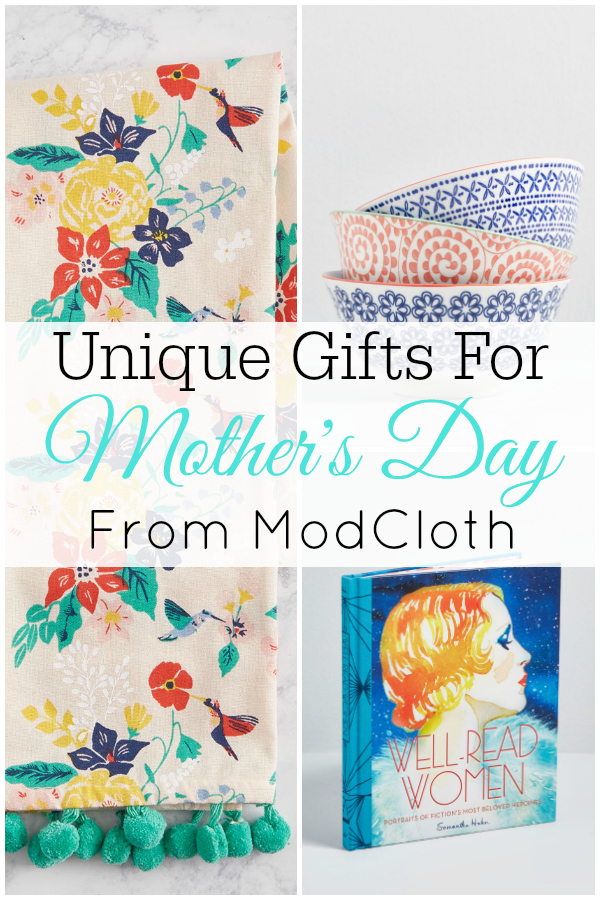 collage of mother's day gifts from ModCloth