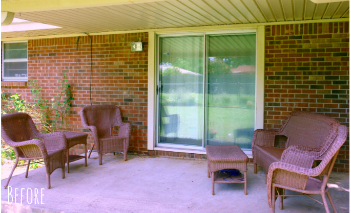 back porch with brown wicker furniture
