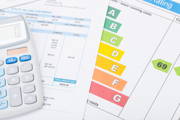 Electricity bill, energy efficiency chart, and calculator