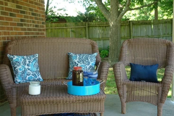 outdoor furniture, pillows, and decor pieces