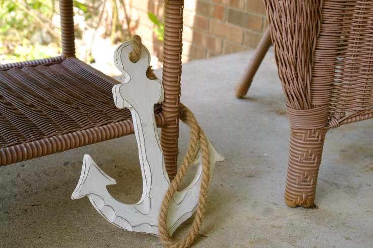 White wooden anchor