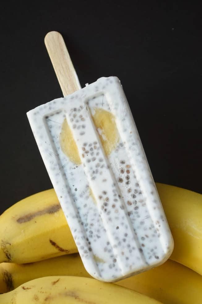Coconut Banana Chia Seed Pudding Pops