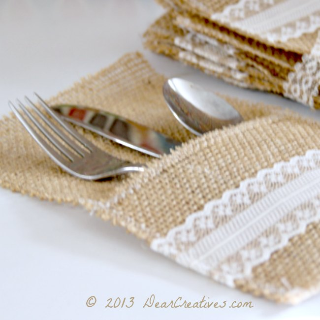 Burlap and Lace Utensil Holders