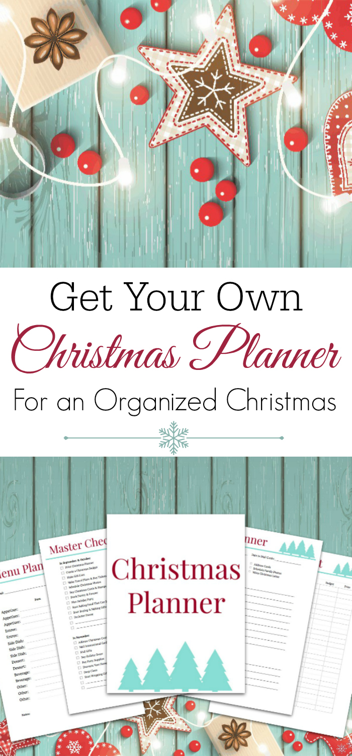 christmas planner preview and christmas decor on aqua wooden background with text get your own christmas planner