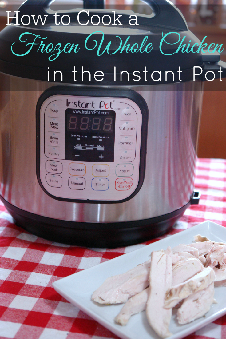 Instant Pot and cooked chicken on a table
