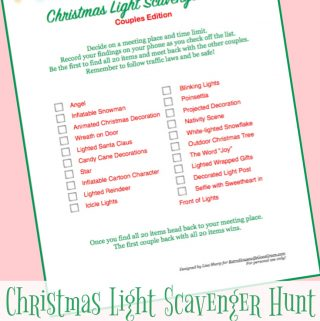 Fun Christmas Scavenger Hunt with free printables. Includes a couples and a family edition.
