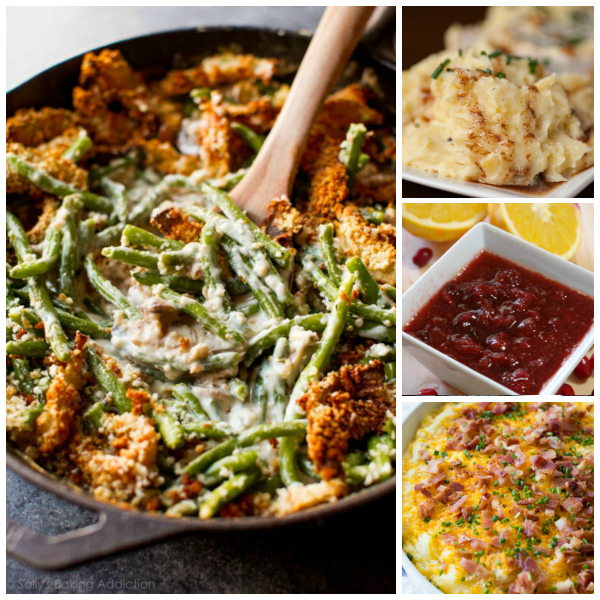 collage of holiday side dishes