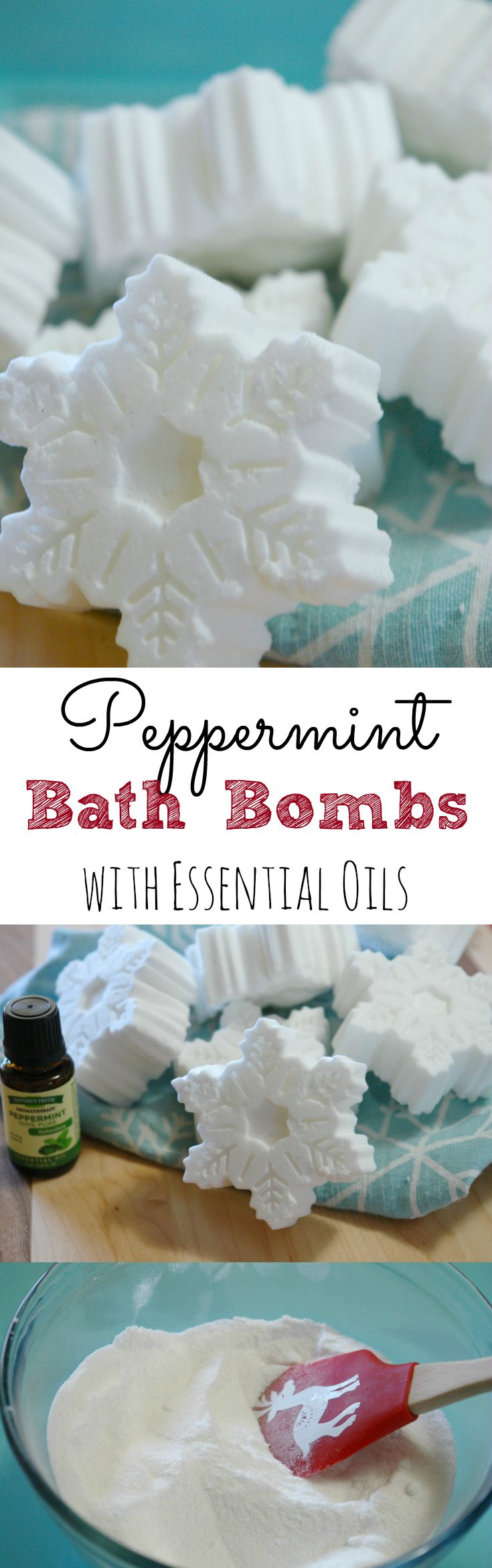 Easy and fun snowflake peppermint bath bombs. A perfect homemade gift. #peppermint