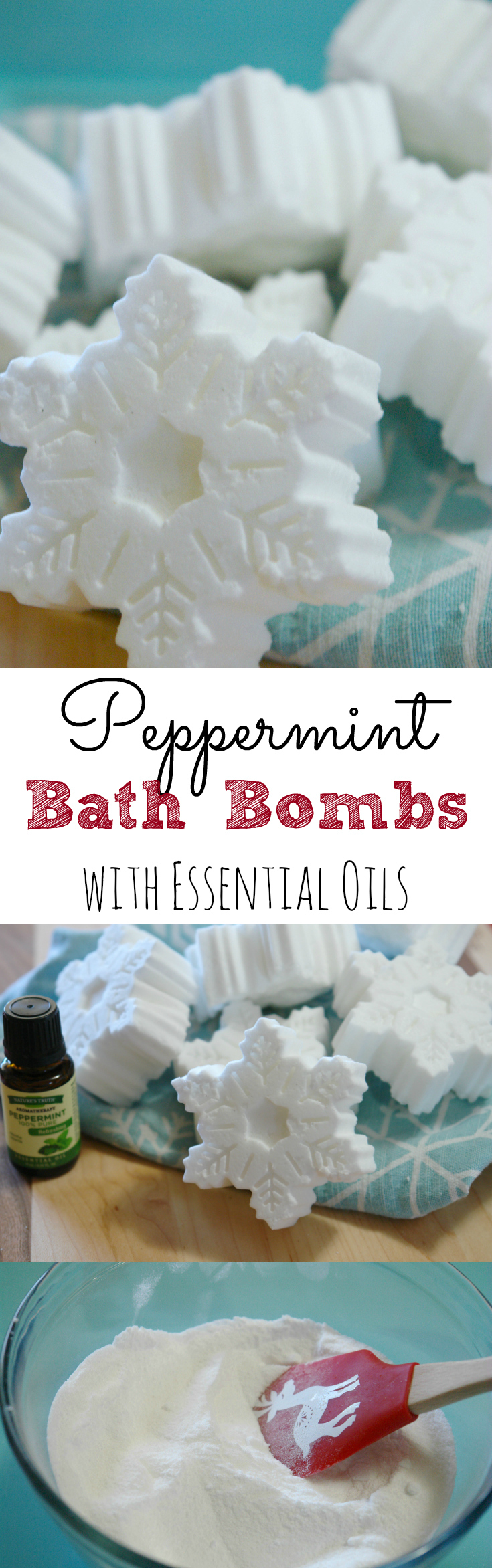 snowflake peppermint bath bombs on christmas towel