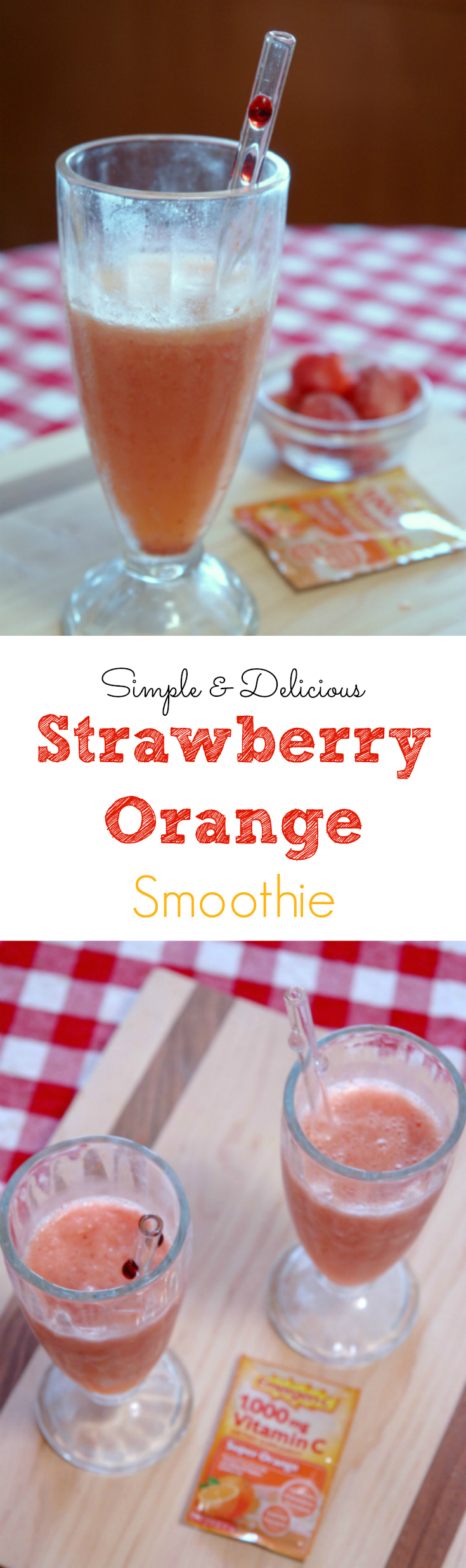 This Strawberry Orange Smoothie is so easy to make and delicious! It's also packed with vitamins because it uses Emergen-C. #shop #HowDoYouEmergenC #ad