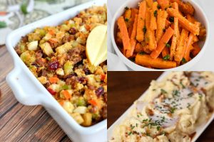 collage of thanksgiving side dishes
