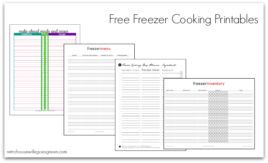 Free freezer cooking printables