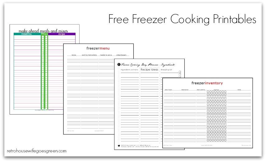 Free freezer cooking printables