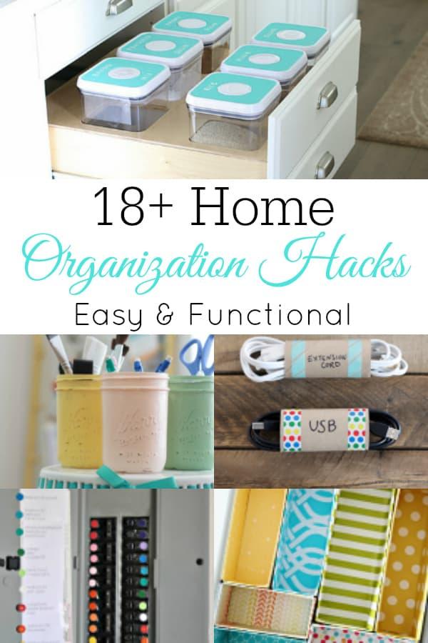 collage of organization hacks