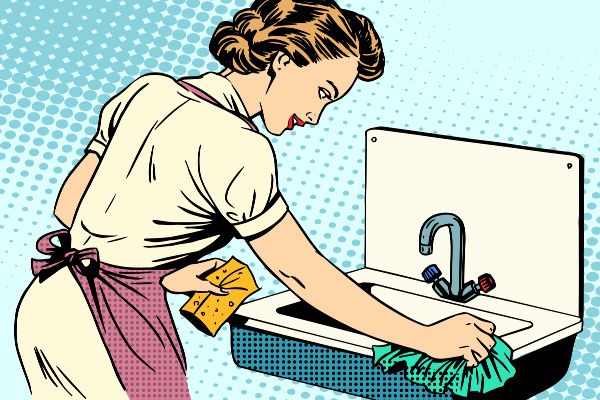 retro housewife at sink cleaning with a sponge and rag