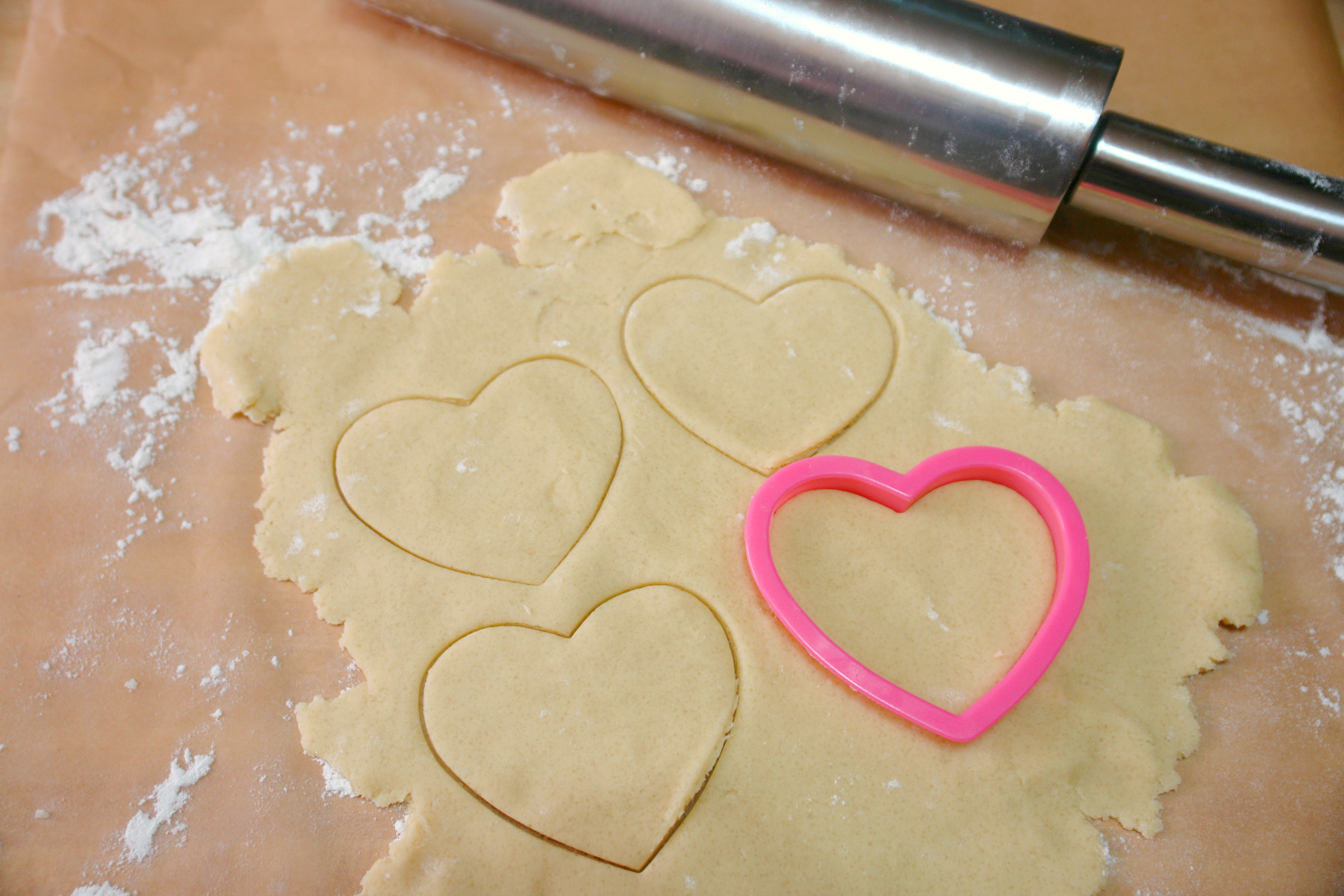sugar cookie dough rolled out