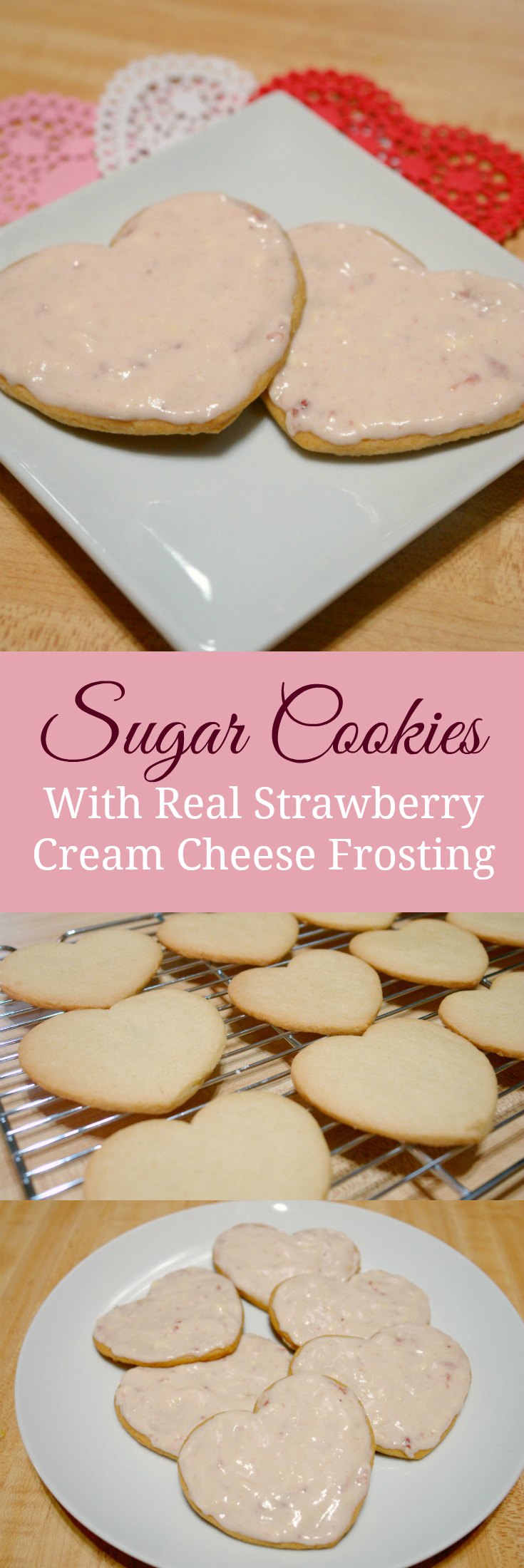 Strawberry Sugar Cookies with Real Strawberry Cream Cheese Frosting