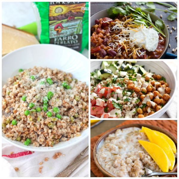 collage of farro recipes