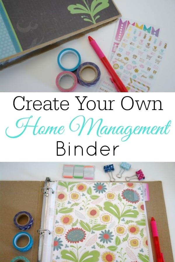 collage of home management binder