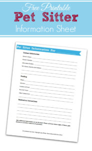Pet care information sheet free printable for pet sitters. #ad
