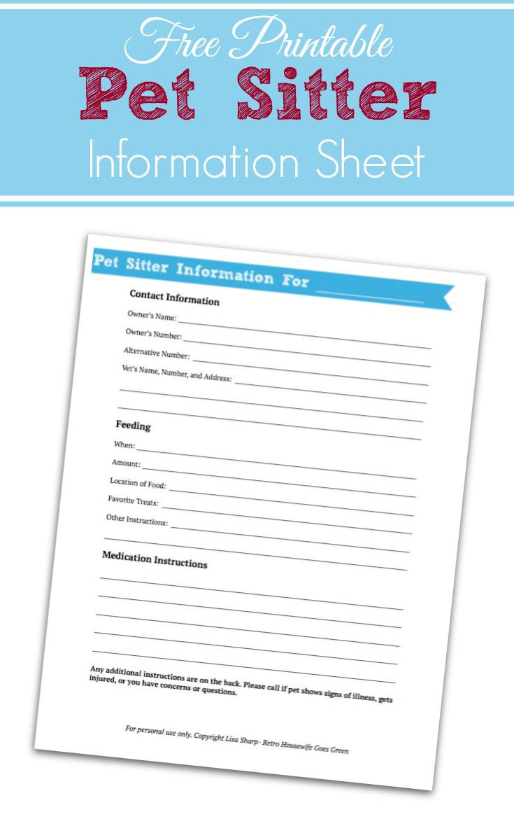 Pet Sitter Information Sheet Printable