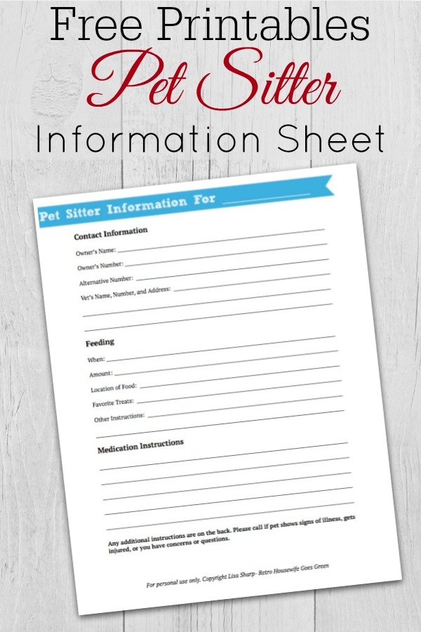 grey wooden background with  pet sitter information printable