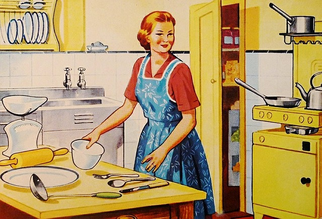 vintage style graphic of housewife in kitchen