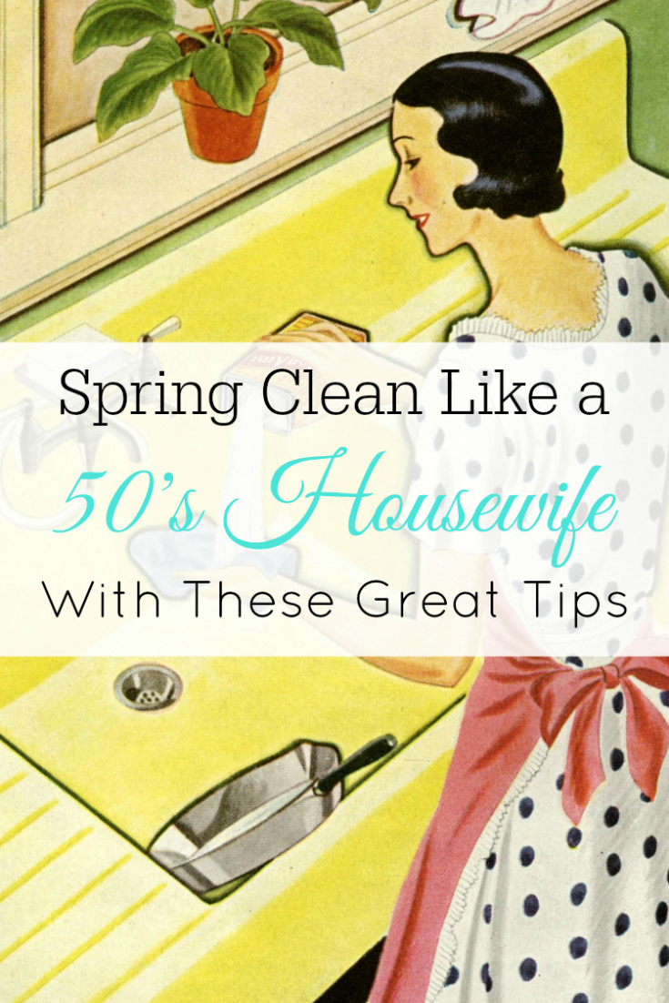 Illustration of vintage housewife cleaning