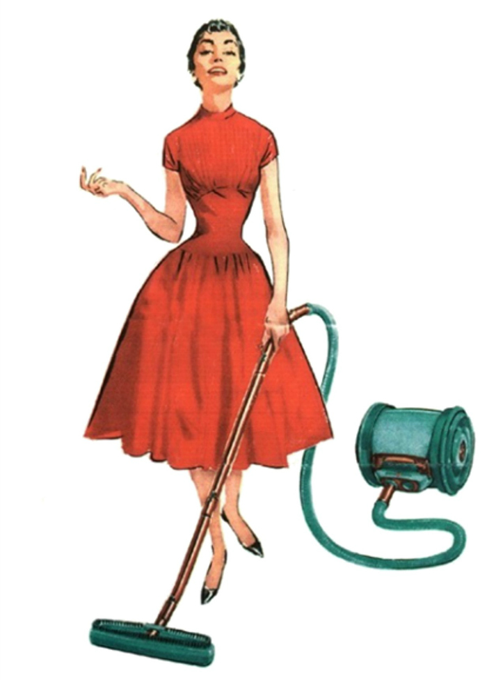 spring cleaning 50's housewife