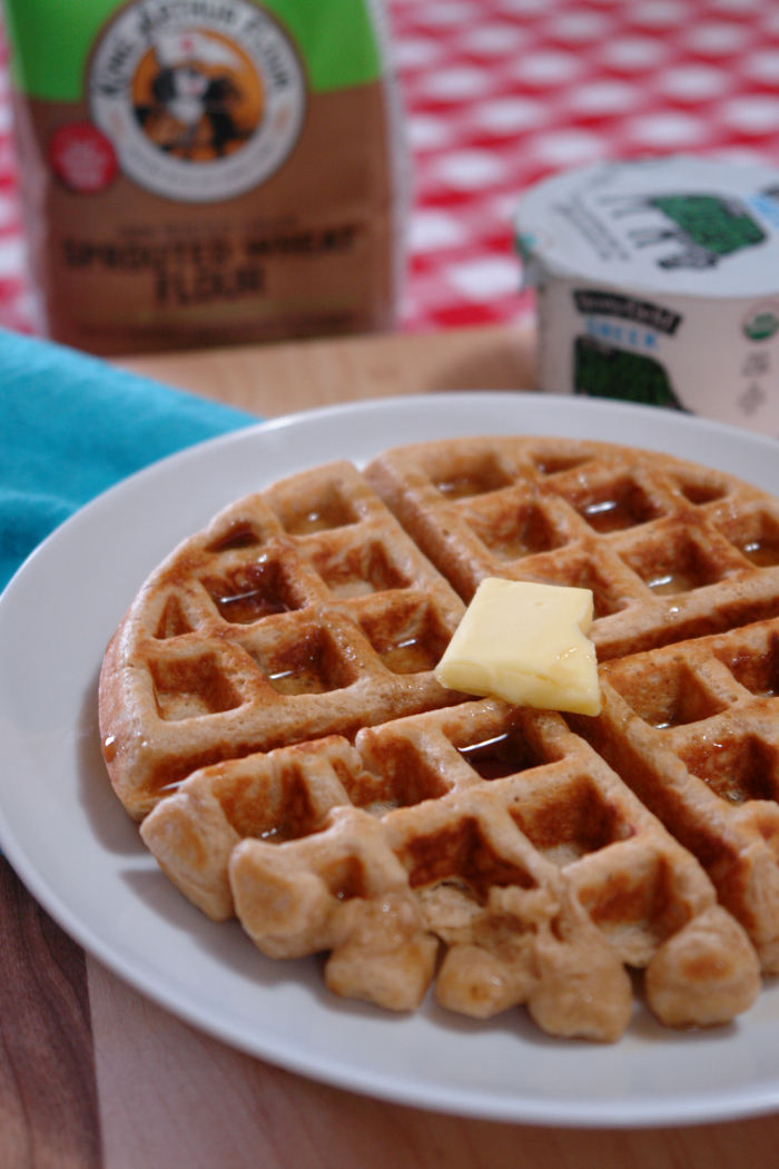 Sprouted wheat waffles may sound healthy and not very good but trust me these waffles are amazing. They are light and fluffy and full of flavor. #ad