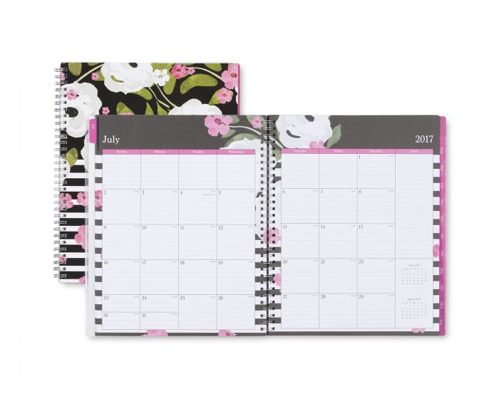 floral Blue Sky planner open and with closed planner in background